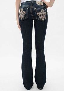Miss Me Fleur De Lis Bling Slim Boot Cut Jeans 30